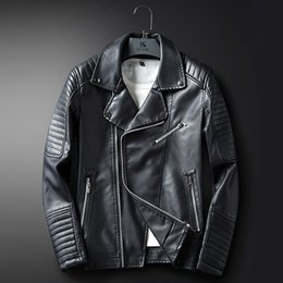 Wholesale Long Coats For Mens - New Arrival Mens Faux Black Leather jackets For Men Slim Fit Casual Coat Hombre Biker Jacket Blue Faux Leather Trench Coat Windbreaker