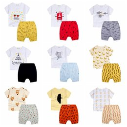 Wholesale Banana Print - INS childen outfits summer 2016 new boy girls fox banana printed t-shirt + striped pp shorts 2pcs sets boys clothing set kids sport suits