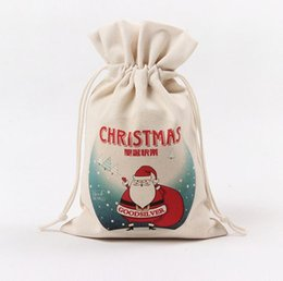 Wholesale Wholesale Canvas Wraps - Canvas Christmas Drawstring Gift Bag wedding candy favors pouches Sika Deer Pattern Santa Sack party gift wrap festive supplies 9 designs