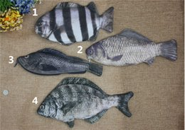 Wholesale Cute Animal Pencil Cases - 3D print Fish coin purses Cute Simulated fish pencil bag Black Porgy Oplegnathidae Crucian Grouper change purse coin case kids fashion pouch
