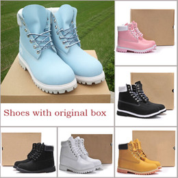 Wholesale fashion western boots women - Authentic Brand Motorcycle Boots Men Casual 6-Inch Premium Boots Women Waterproof outdoor 10061 Wheat Nubuck boots size 36-46