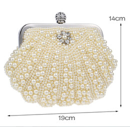 Wholesale White Pearl Clutch Bag - In Stock Bling Bling Black White Beaded Pearls Clutches Double Handle Bridal Hand Bags Evening Party Prom Crystals Special Occasion Bags