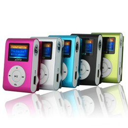 Wholesale Digital Card Retail - Colorful MP3 Player Clip with LED Screen Metal Body Support Micro SD TF Card Digital With USB Cable Earphone Crystal Retail Box