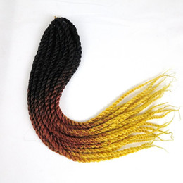 Wholesale Yellow Brown Hair Color - Ombre Braiding hair synthetic Crochet Braids twist 18inch Black&Brown&Yellow three tone color 2X Braids synthetic hair extensions