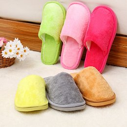 Wholesale Cheap Sole Heels - New Unisex Warm Soft Sole Women Indoor Floor Slippers Men Shoes Red Yellow Gray Pink Flannel Home Slippers 6 Color cheap Free shipping