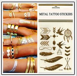 Deja tatuajes online-Tatuaje temporal Tatuaje de oro Tatuajes de destello Hoja Tatoos Metálico Productos sexy joyería Henna Tatoo Arte corporal pegatinas de tatuaje 14 * 25 cm