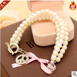 Wholesale Bracelet Balls String - Wholesale-L304 2016 new Fashion Imitation diamond inlay antiwar peace sign three-string pearl bracelet female ball jewelry Wholesalers