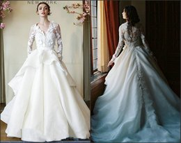 Wholesale Chinese Two Piece Dress - 2016 Long Sleeve Illusion Neckline 3-D Florals Wedding Dress Two Pieces Dresses Chinese Model Wedding Dresses With Wrap