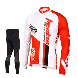 Wholesale Long Sleeve Padded Shirts - Tasdan Professional Bike Jersey Set Long Sleeve Top Shirt Men Sport Suit Set Padded Pants for Racing