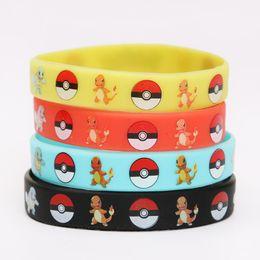 Wholesale European Charm Bracelet Kids - New 10pcs Magic Poke Go Silicone Wristband Bracelet Pikachu Ash Ketchum Kids Women Men Unisex Charm Bracelets Bangles