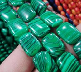 Wholesale Oval Natural Gemstone Beads - free shipping natural beautiful Jewelry AA wholesale NEW 2Strand 13x18mm Green Malachite COLUMN LOOSE BEAD Gemstones Loose Beads 14.5 ''
