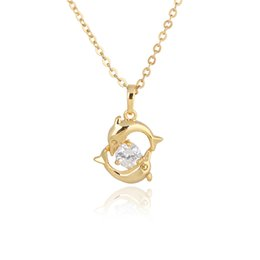 "Wholesale Necklace Big Cross Pendant - Cute Animal Jewelry 18K Yellow White Gold Plated Double Dolphins Big Cubic Zirconia CZ 18"" Cross Chain Pendant Necklace for Women"