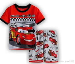 Wholesale Sets Boy Sport - New Kids Clothes Set Summer Boys Girl cars Clothes Sets Baby T-Shirts + Short Pants cars Sports Suit for Boy Outfits
