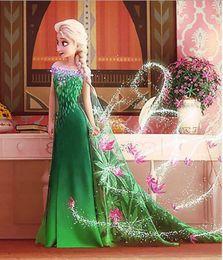 Wholesale Samgami Dress - BBA3355 50pcs samgami baby Frozen fever dress elsa dress princess Elsa costume Frozen cosplay dress Princess Elsa dress Kids princess dress