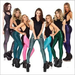 Wholesale Wholesale Trousers Women - DHL 12 Color Novelty Fish Scale women Mermaid leggings Mermaid Fitness leggings punk pants Plus Size Anti exposure trousers E1079
