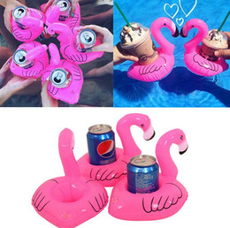 Wholesale Cell Phone Items - Flamingo Inflatable Drink Holders Mini Bath Drink Can Cell Phone Holder Floating Toy Pool Can Party Holder OOA2542