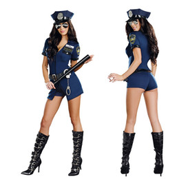Wholesale Police Costume Cosplay - 2016 Brand New Mardi Gras Party Halloween Costumes Women Games Role Play Police Cosplay Sexy Rompers Blue Set Free Shipping