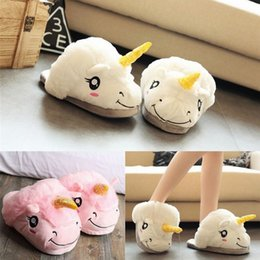 Wholesale Baby Home Shoes - Baby Adult Unicorn Slipper Winter Warm Cartoon Plush Indoor Slippers Home Chausson Unisex Cute Lovely Shoes
