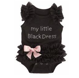 Wholesale Wholesale Baby Lace Bodysuits - European American 2016 New Born Baby Clothes Girls Kids Romper Girl Lace Tutu My Little Black Dress Baby Clothes Climb Secret Bodysuits 9409
