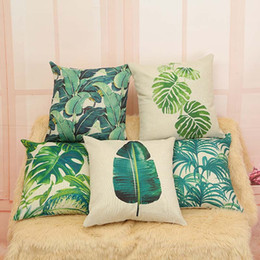 Wholesale Free Cushion Cover Patterns - 2017 New factory direct sale Tropical Beach Cushion Cover Rainforest Palm Banana Leaf Pattern Home Pillowcase free shipping