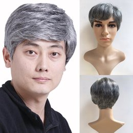 Wholesale Man Wigs - 6 Inches Short Straight Wigs for Men Grey Toupee Natural Men Wig Hair Japanese KA Fiber Heat Resistant