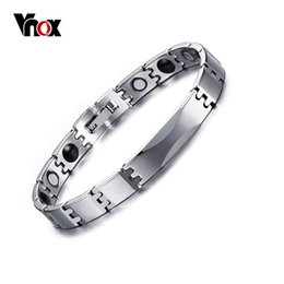 Wholesale Tungsten Germanium Bracelet - Vnox Tungsten Carbide Bracelets Bangles Energy Magnetic Therapy Germanium Health Care free Box Factory Wholesale