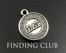 Wholesale Greek Letters Charms - 15pcs Antique Silver Greek letter EAT round Charm Pendant Jewelry Making DIY Handmade Craft 20mm A1288