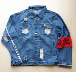 Wholesale Retro Hip Hop Clothing - Fall-424 Retro Denim Jackets Mens Hip Hop Brand Clothing 2016 Newest Armband Zippered Sleeve Ripped Holes Kanye West Jean Coat