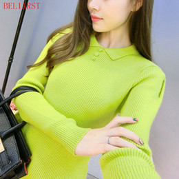 Wholesale Computer Dolls - Wholesale- BELIARST New Cashmere Sweater Woman Sweet Buckle Doll Collar Sweater Tight Knit Bottoming Shirt Short Paragraph Sweater