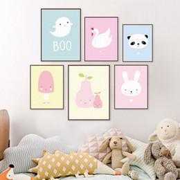 Wholesale Modern Nursery Pictures - Kawaii Animal Panda Poster Print A4 Modern Nordic Cartoon Nursery Wall Art Picture Kids Baby Room Decor Canvas Painting No Frame
