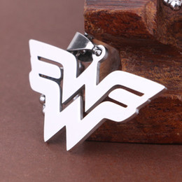 Wholesale Wonder Woman Wholesale - New Titanium Superhero wonder women sign pendants necklace for women men hip hop jewelry Christmas gift 161563