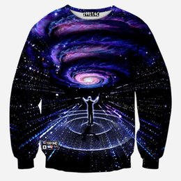 Wholesale Galaxy Sweatshirt Hoodies - Wholesale-H&Unique-hot Newest galaxy space printed creative hoodies 3d men's Sweatshirts Autumn novelty 3D psychedelic hoody clothes