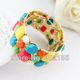 Wholesale Costume Gemstone Bracelets - 2014 Costume Jewelry Big Size With Colorful Simulated Gemstone Adjustable Bangles and Bracelets For Women Bangles