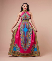 Wholesale Traditional Ball Gowns - 2017 African Women Dashiki Dress Womens Clothing Red Fashion Designed Formal Traditional Africa totem printed Halter Floor Length Maxi Dress