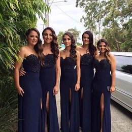 Wholesale Long Strapless Sweetheart Bridesmaid Dress - Navy Blue Bridesmaid Dresses 2016 Vestido Madrinha Lace Embroidery Sweetheart Sheath Side Split Evening Dresses Cheap Maid Of Honor Dress