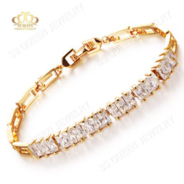 Wholesale Nickel Stone - High quality 18k yellow gold plated Lead and Nickel free AAA white rectangle cubic zircon stone CZ bracelets