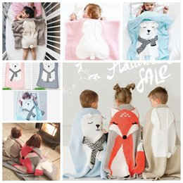 Wholesale Red Rabbit Cartoon - Newborn Baby Blanket Cartoon Fox Bear Rabbit Ear Quilt For Bed Sofa Wool Blanket Newborn Photography Props Baby Blanket Swaddling KKA3264