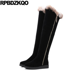 Wholesale Warm Long Shoes For Woman - Shoes Slim Knee High Over The Sexy Thigh Boots For Plus Size Women Black Fur Long Winter Ladies Flat Warm 2017 Fashion Female