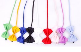 Wholesale Pet Hair Tie - 2Pcs Lot Various Colors Cute Puppy Pet Dog Cat Bowknot Gentleman Collar English style Tie Bow Necktie Collar Pet Clothing Dog Cat Puppy