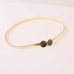 Wholesale Girls Leather Belt Tie - Wholesale- The new Europe and the United States girls fashion metal waist chain belt gold silver Jane hundred tie-in dress H387