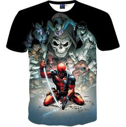 Wholesale Boys Summer Skull T Shirts - Japanese Anime cartoon men boy t-shirt 3d print warrior skulls fashion brand t shirt summer tops tees shirt