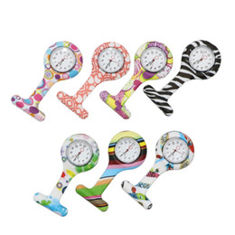 Wholesale doctor dot - Colorful Printed Children Doctor Nurse Watches with Pin Fob Pocket Watches Flowers Dot Design Watches 100pcs lot