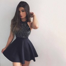 Wholesale Cute Black Cocktail Dresses Mini - 2018 New Black Halter Cute A-line Short Homecoming Dresses Crystals Beading Sleeveless Mini Girls Cocktail Party Gowns
