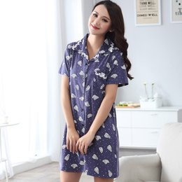 Wholesale Cotton Lace Nightgowns - Wholesale- 2016 Summer Brand Sleepshirts Women Sleepwear dress Female Casual Nightdress Ladies Cotton Lace homewear Nightshirts Nightgown