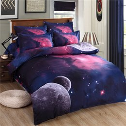 Wholesale Outer Space Bedding - 3d Galaxy bedding sets Twin Queen Size Universe Outer Space Themed Bedspread 3pcs 4pcs Bed Linen Bed Sheets Duvet Cover Set