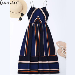 Wholesale Midi Sundresses - Wholesale- Gamiss Multi Striped Dress Women Summer Sundress 2017 Elastic Waist Spaghetti Strap Midi Vestidos Mujer Sexy Boho Beach Dress