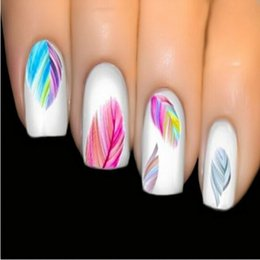 Wholesale Nail Art Water Decals Feathers - Colorful Feathers Water Transfer Stickers Nail Art Individual Designs Nail Decal Decoration Beautiful Women's Nail Tool NA345