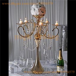 Wholesale Votive Chandelier - 27.5 Tall Gold Metal Candelabra Chandelier Votive Candle Holder Wedding Centerpiece - With Acrylic Chains and Big TearDrops