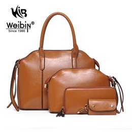 Wholesale Men Wallet Sets - Wholesale-New Arrival Wax oiled Composite leather Bag Women Handbag Shoulder Crossbody Bag Handbag+Messenger Bag+Purse+Wallet 4 sets