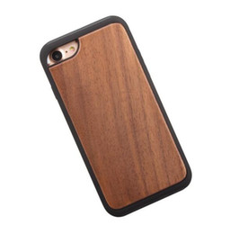 Wholesale Real Iphone Cellphone - Dual Layer Real Wood Wooden Hybrid Case 2 in 1 Protective Back Cover Cellphone Shockproof Shell For iphone 8 7 6s 6 OPPBag